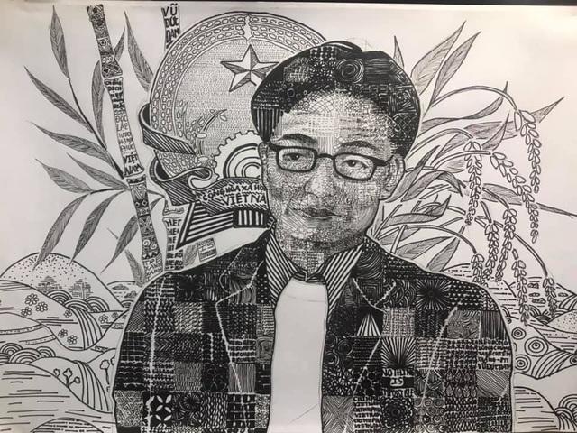Sinh viên mỹ thuật đồ họa vẽ tranh người hùng Phó Thủ tướng Vũ Đức Đam - 3