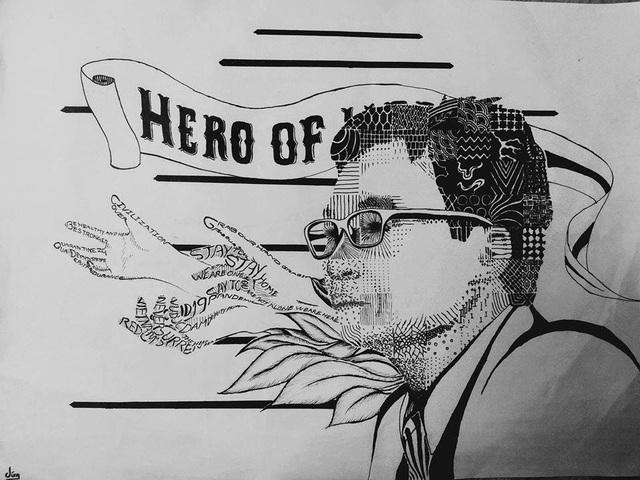Sinh viên mỹ thuật đồ họa vẽ tranh người hùng Phó Thủ tướng Vũ Đức Đam - 4