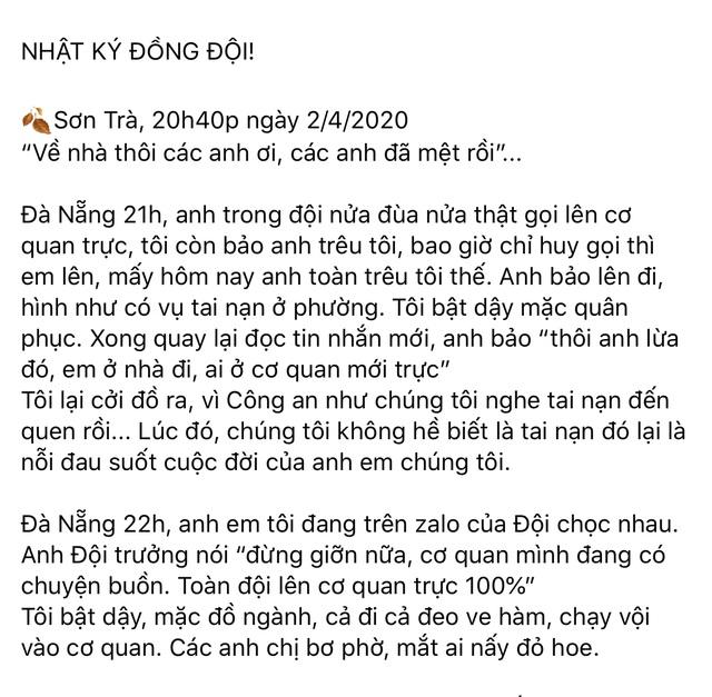 """Hai công an Đà Nẵng hy sinh: Nhật ký """"Sơn Trà, một đêm trắng"""" - 1"""
