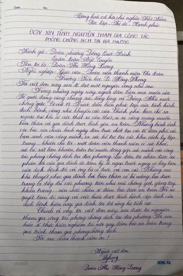 Cô giáo Tiểu học viết đơn tình nguyện tham gia phòng, chống dịch Covid-19 - 1