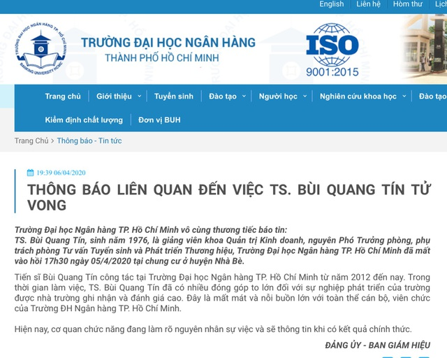 Vụ giảng viên ĐH Ngân hàng TPHCM tử vong: Ngân hàng Nhà nước chỉ đạo khẩn - 2