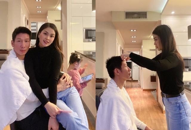 """Để vợ cắt tóc mùa dịch, chồng Á hậu Diễm Trang được dân mạng khen """"can đảm"""" - 1"""
