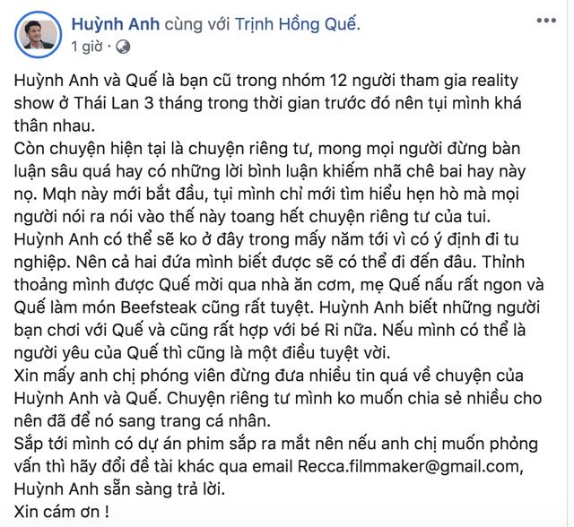 """Huỳnh Anh chính thức xác nhận đang """"hẹn hò"""" với Hồng Quế - 2"""