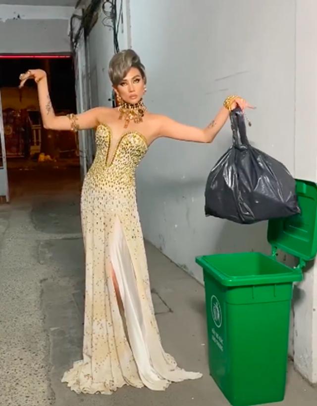 Hài hước hình ảnh Võ Hoàng Yến lên đồ dạ hội… đi đổ rác - 4