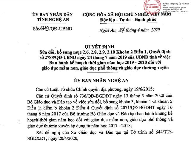 Nghệ An: Học sinh kết thúc năm học trước ngày 15/7 - 1