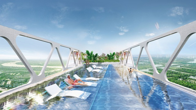 Cận cảnh bể bơi giữa lưng chừng trời của  toà tháp sinh đôi đẳng cấp nhất Ecopark - 2