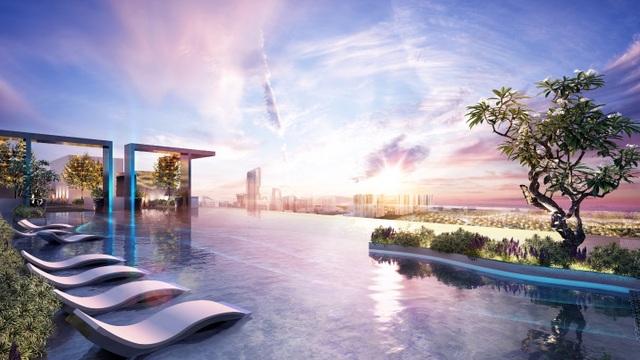 Cận cảnh bể bơi giữa lưng chừng trời của  toà tháp sinh đôi đẳng cấp nhất Ecopark - 3