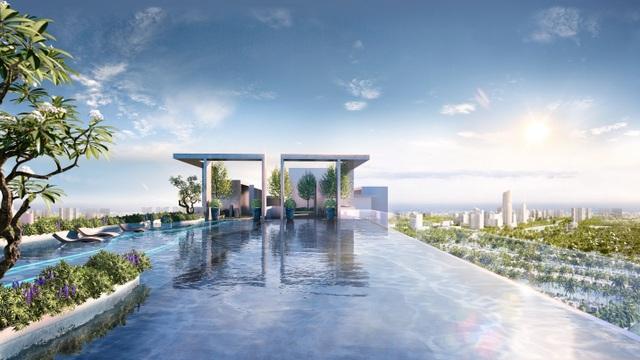 Cận cảnh bể bơi giữa lưng chừng trời của  toà tháp sinh đôi đẳng cấp nhất Ecopark - 4