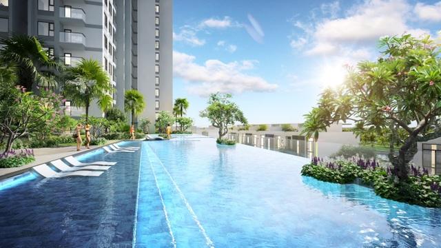Cận cảnh bể bơi giữa lưng chừng trời của  toà tháp sinh đôi đẳng cấp nhất Ecopark - 10