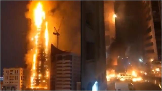 Tòa nhà chọc trời ở UAE cháy nghi ngút như cột lửa - 1