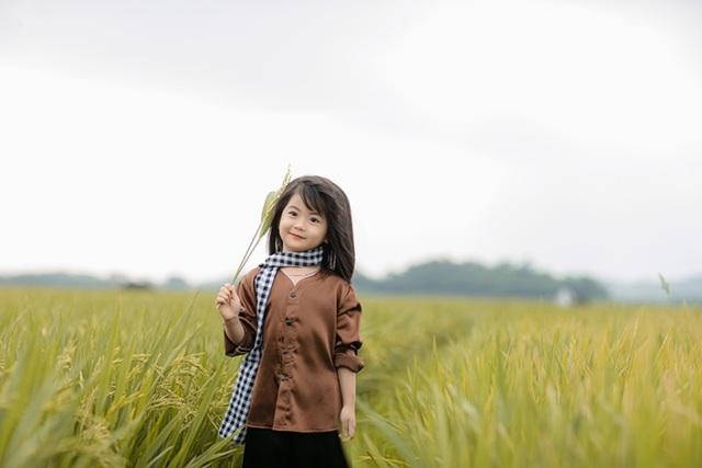 Bé gái xinh như thiên thần trên cánh đồng mùa lúa trổ bông - 1