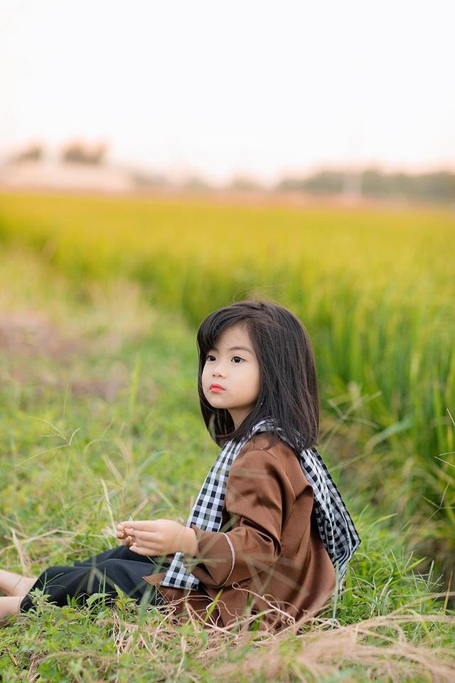 Bé gái xinh như thiên thần trên cánh đồng mùa lúa trổ bông - 7