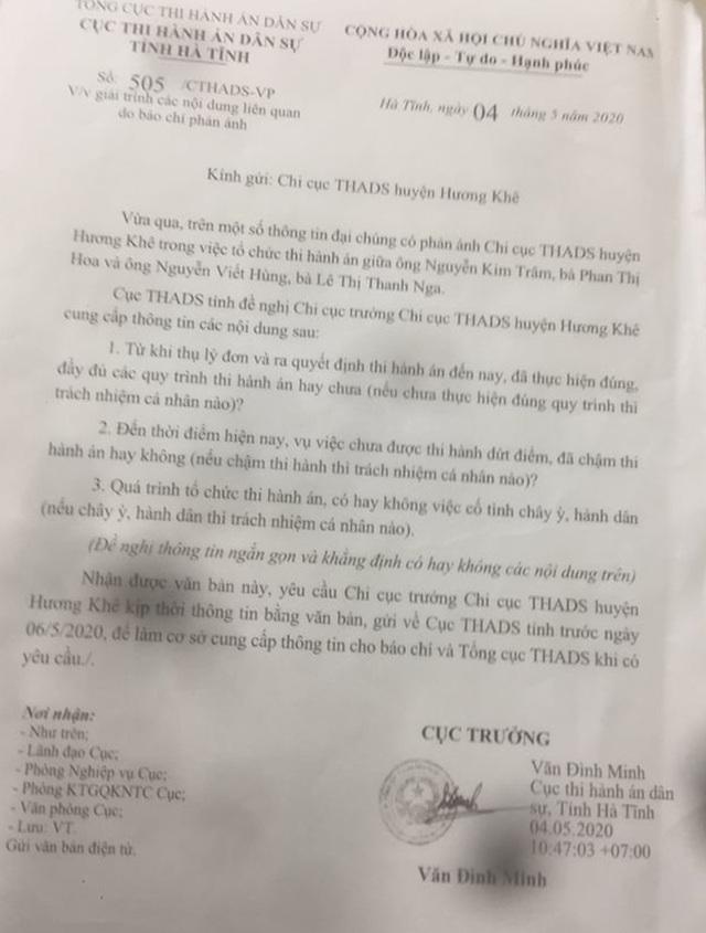 Cục THADS tỉnh Hà Tĩnh đau đầu vì cấp dưới bất tuân chỉ đạo, lạm quyền - 2