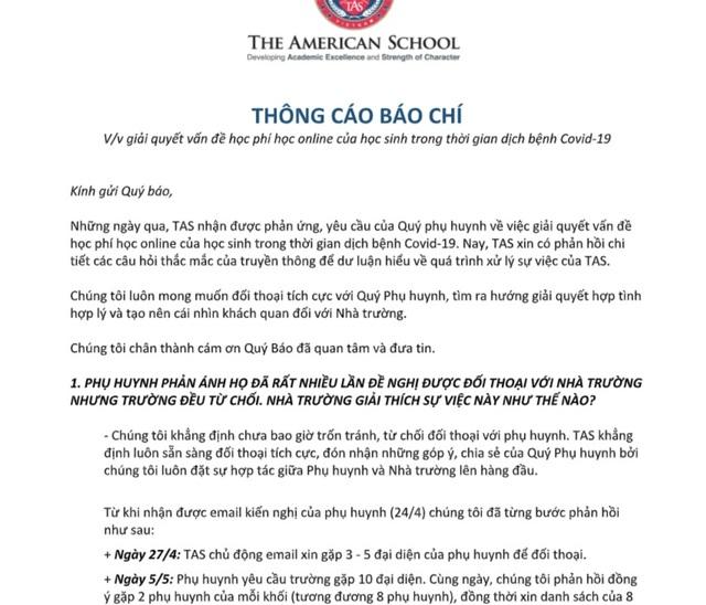"""""""Tiếp"""" phụ huynh qua song cửa, Trường Quốc tế Mỹ khẳng định không né tránh - 2"""