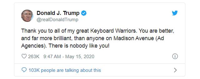 """Ông Trump cảm ơn các """"anh hùng bàn phím"""" - 2"""