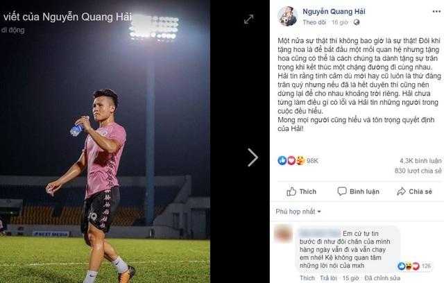 Giữa tin đồn tình cảm, tuyển thủ Quang Hải bất ngờ chia sẻ trên facebook - 2