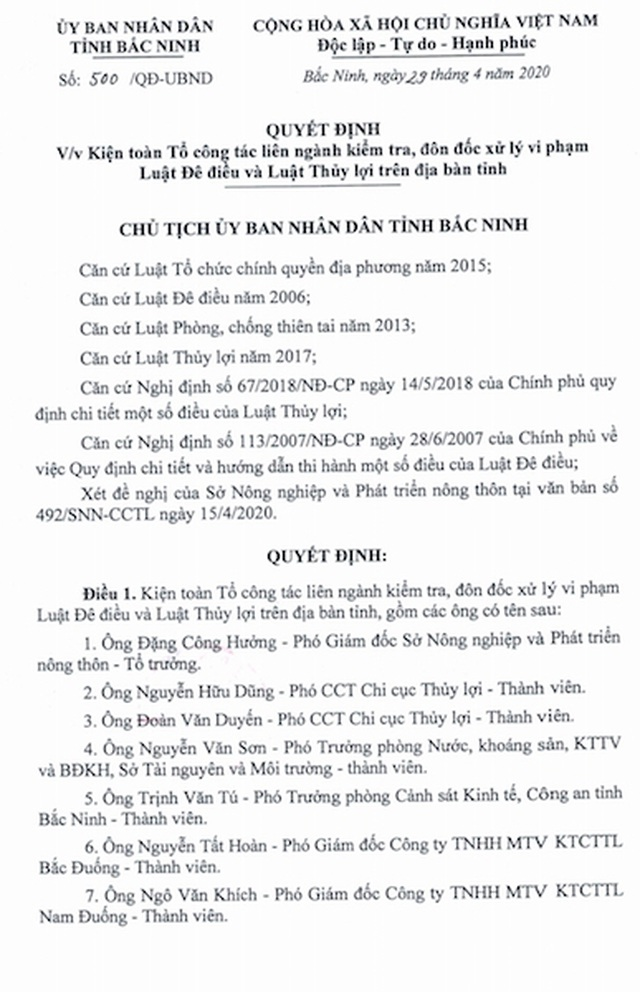 Các dòng sông kêu cứu thấu trời xanh, Bắc Ninh lập tổ công tác giải cứu - 4