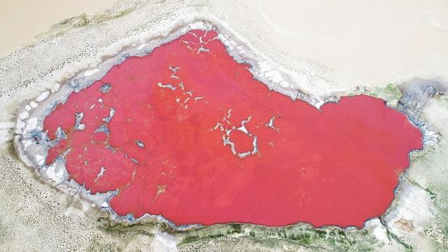 Hồ muối đỏ như màu máu nằm ẩn mình giữa sa mạc nóng bỏng - 2