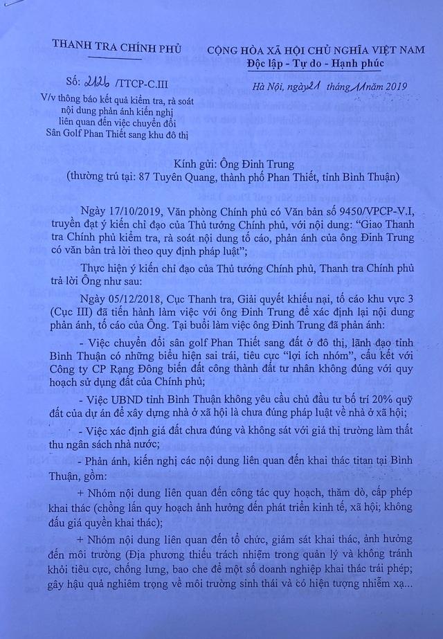 Vụ chuyển đổi sân golf Phan Thiết: Thanh tra Chính phủ báo cáo thế nào? - 4