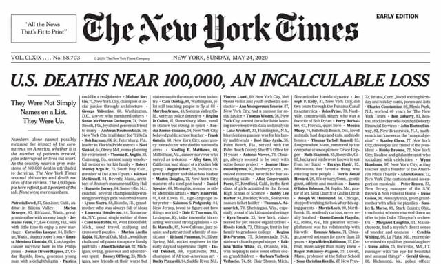 Trang nhất New York Times phủ kín tên 1.000 người chết vì Covid-19 - 1
