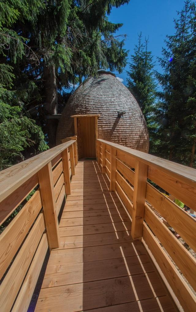 Kỳ lạ ngôi nhà treo mình giữa rừng cây, khách muốn vào phải đi bằng cầu - 4