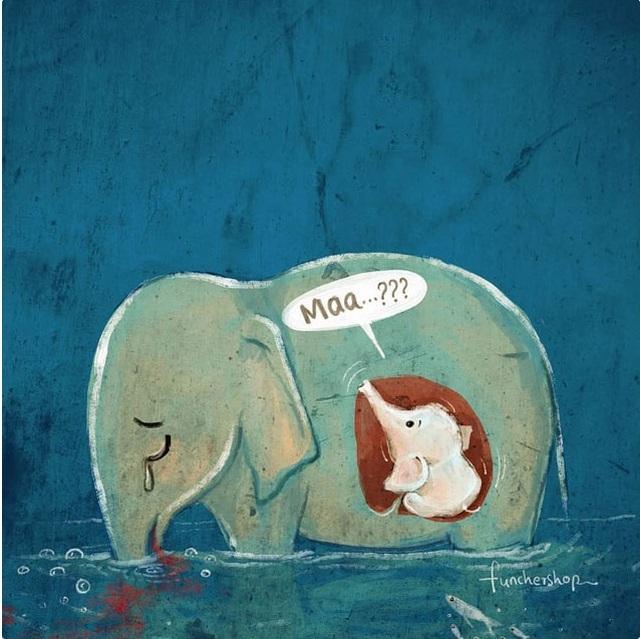Cộng đồng mạng quốc tế xót xa trước bộ tranh kể về bi kịch của voi mẹ - 7