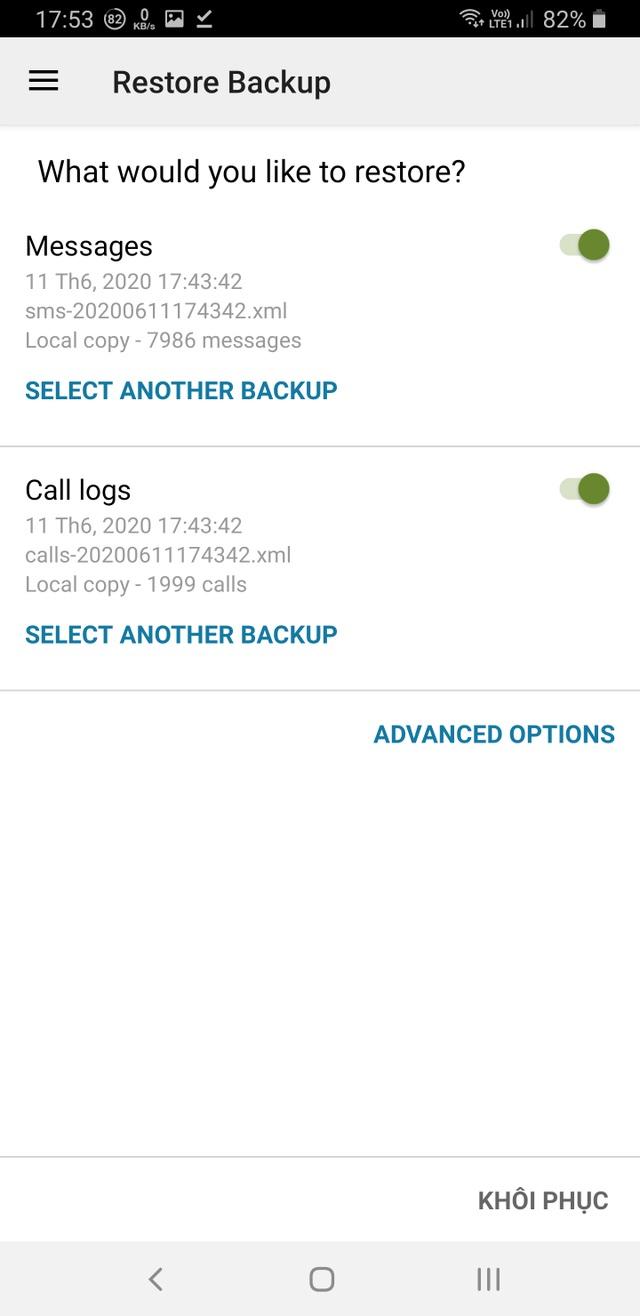 Hướng dẫn sao lưu và phục hồi tin nhắn, nhật ký cuộc gọi trên smartphone - 7