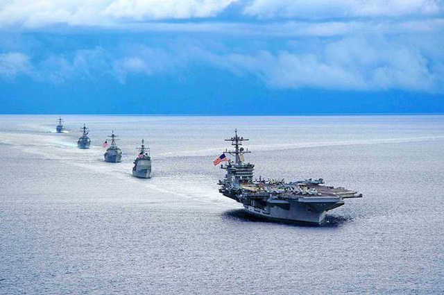 """Ba tàu sân bay Mỹ phô diễn sức mạnh ở Thái Bình Dương, """"nắn gân"""" Trung Quốc - 1"""