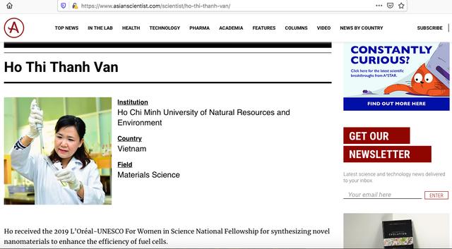 Ba nữ tiến sĩ Việt lọt top 100 nhà khoa học châu Á năm 2020 - 2