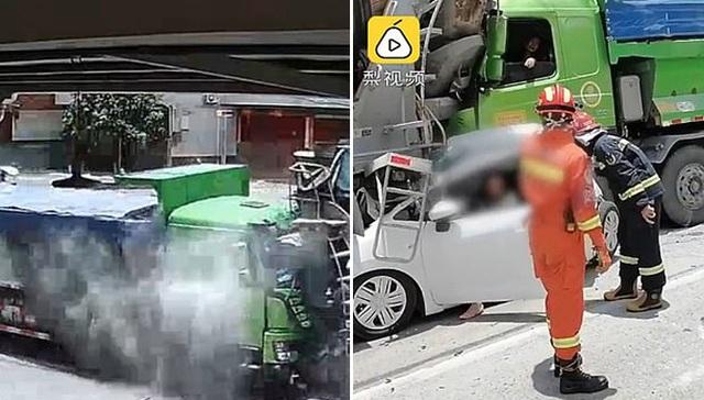 Hành khách và tài xế thoát cửa tử trong gang tấc khi xe bị bẹp rúm - 3