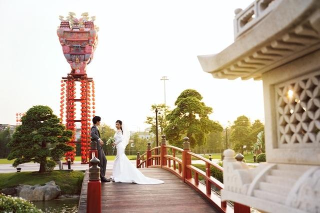 Ngất ngây bộ ảnh cưới đẹp như mơ tại vườn Nhật Bản Vinhomes Smart City - 6