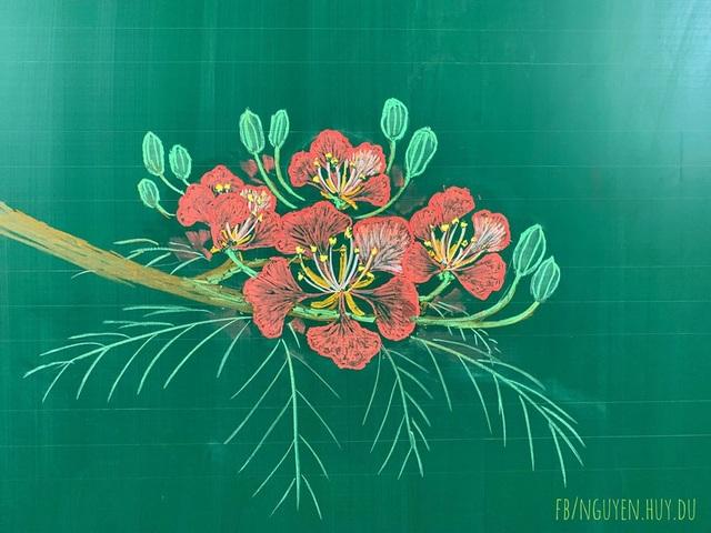 Thầy giáo vẽ hoa phượng lên bảng khiến người xem trầm trồ, ngưỡng mộ - 6