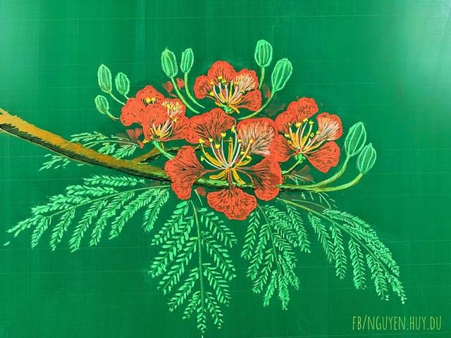 Thầy giáo vẽ hoa phượng lên bảng khiến người xem trầm trồ, ngưỡng mộ - 7