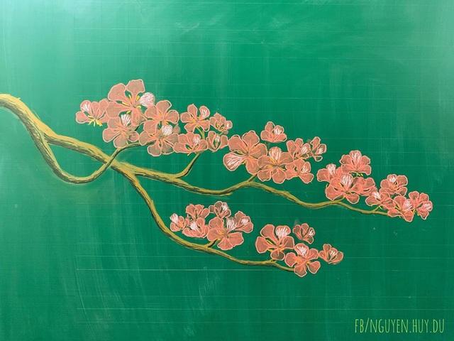 Thầy giáo vẽ hoa phượng lên bảng khiến người xem trầm trồ, ngưỡng mộ - 11