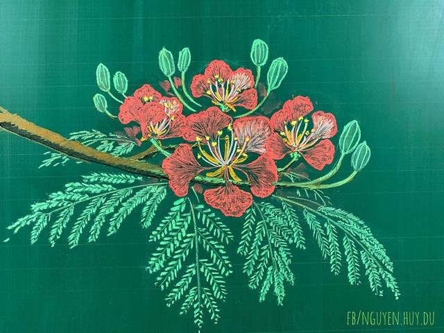 Thầy giáo vẽ hoa phượng lên bảng khiến người xem trầm trồ, ngưỡng mộ - 8