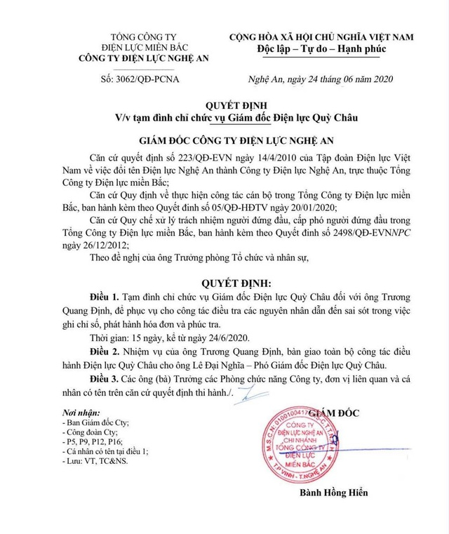 Hóa đơn tiền điện 16 triệu đồng: Tạm đình chỉ Giám đốc Điện lực Quỳ Châu - 1