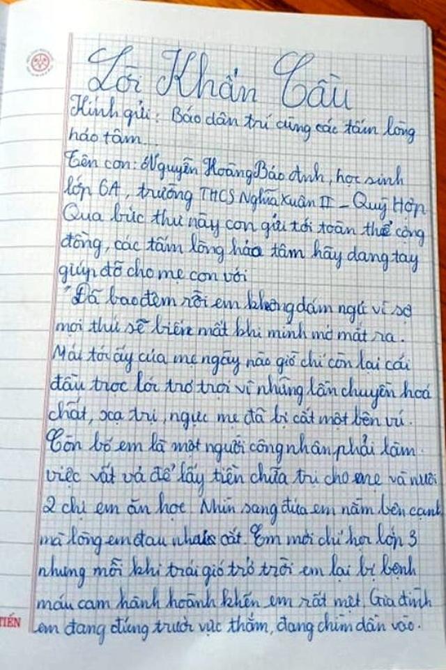 """Cô gái lớp 6 viết tâm thư nghẹn ngào: Mong mọi người cứu lấy mẹ em"""" - 2"""