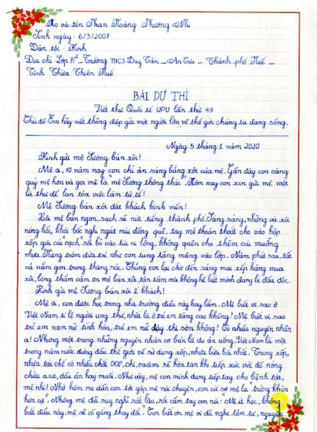 Bức thư gửi mệ Sương bán xôi giúp nữ sinh giành giải Nhất cuộc thi UPU - 1