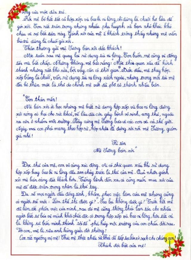 Bức thư gửi mệ Sương bán xôi giúp nữ sinh giành giải Nhất cuộc thi UPU - 2