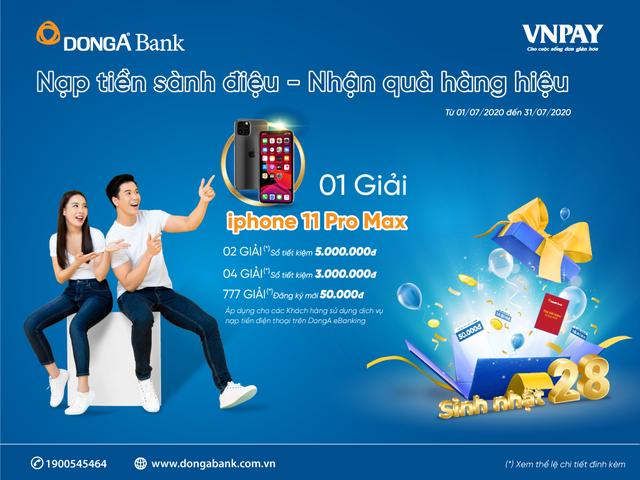 Cơ hội nhận iPhone 11 Pro Max khi nạp tiền điện thoại trên DongA eBanking - 1