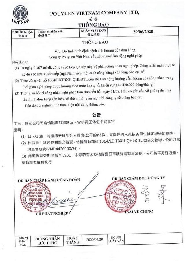 6.000 công nhân công ty PouYuen tạm nghỉ phép trong 1 tháng - 3