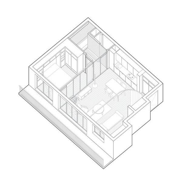 Bất ngờ: Căn hộ 42 m2 rộng gấp đôi chỉ nhờ... những tấm rèm - 3