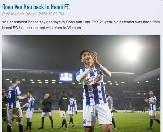 Heerenveen lên tiếng cảm ơn, lý giải vì sao chia tay Văn Hậu - 1