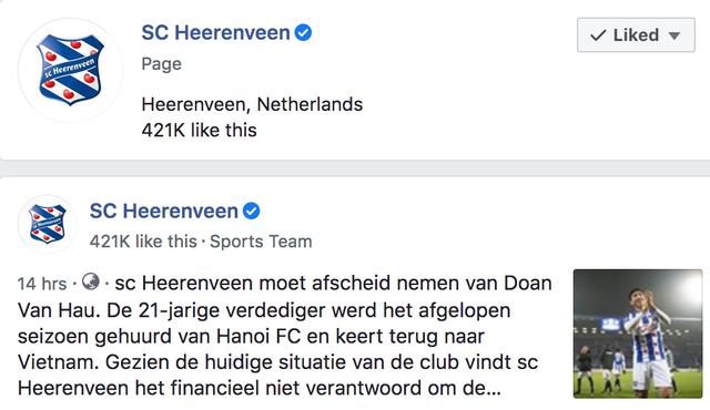 Fanpage Heerenveen mất hơn 30.000 lượt thích chỉ sau một đêm - 2
