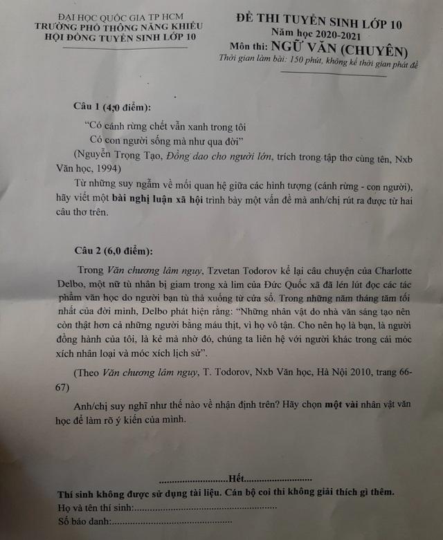 Thí sinh nhận định đề Văn chuyên vào Phổ thông Năng khiếu nhẹ nhàng - 2