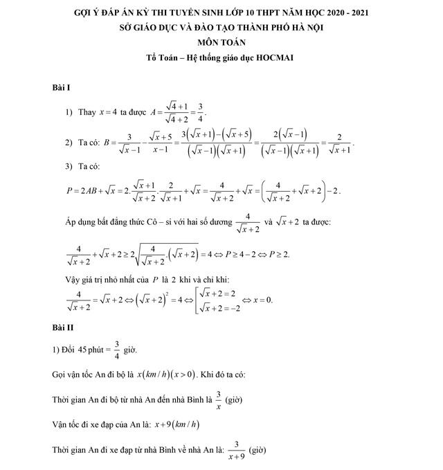 Thi lớp 10 công lập tại Hà Nội: Đề thi và gợi ý đáp án môn Toán - 2