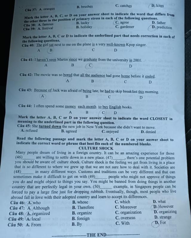Gợi ý giải đề thi môn tiếng Anh vào lớp 10 của tỉnh Nghệ An - 4