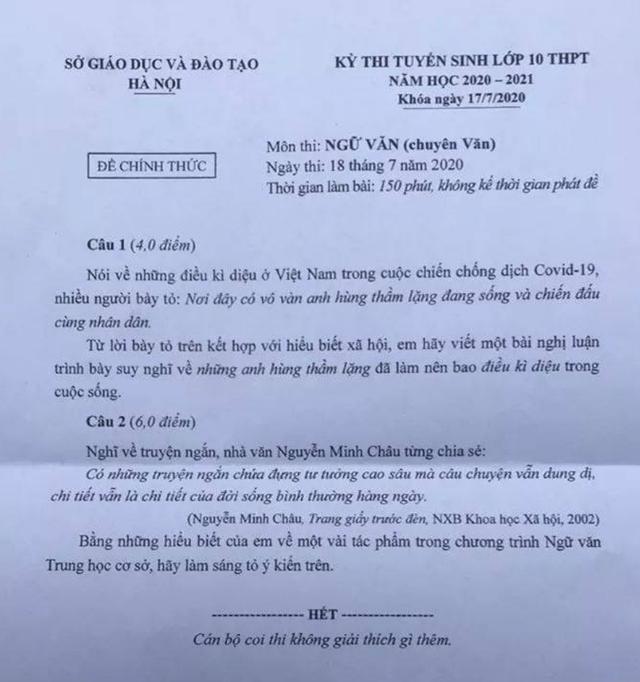 Đề thi chuyên Văn, Toán vào lớp 10 của Hà Nội: Đề hay, không quá khó! - 2