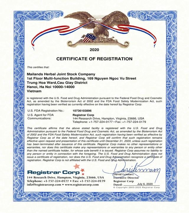 Thương hiệu đông trùng hạ thảo Việt Nam đạt chứng nhận FDA Hoa Kỳ - 1