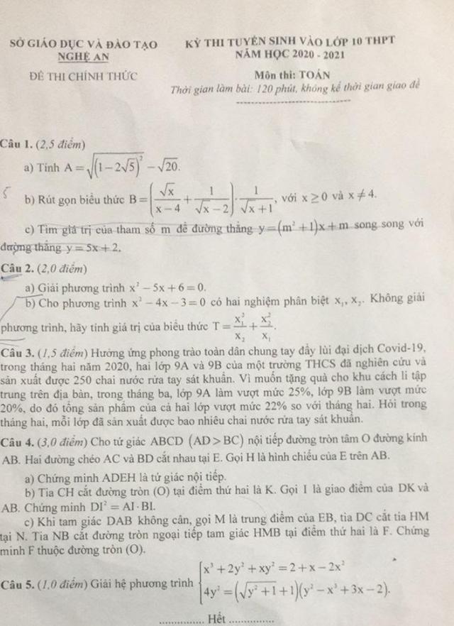 Gợi ý giải đề thi môn Toán vào lớp 10 của Nghệ An - 1